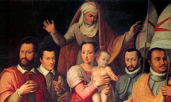 English: Virgin and Child with St Anne and Members of the Medici Family as Saints