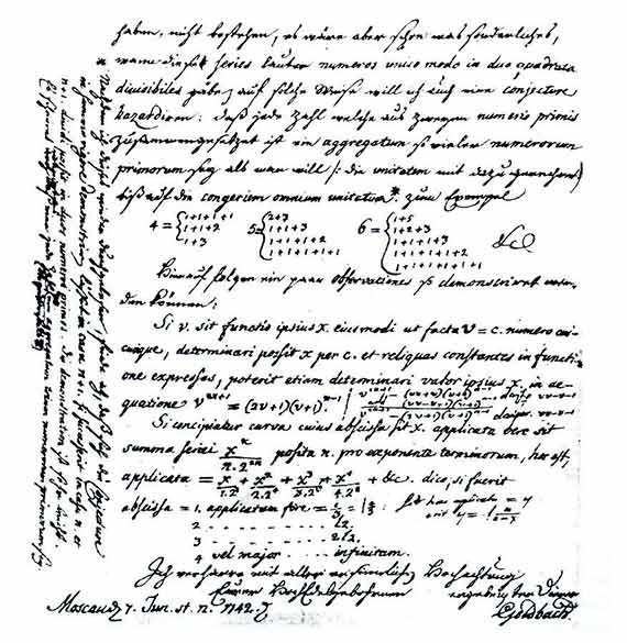 La famosa Conjetura de Goldbach apareció por primera vez en una carta dirigida a Euler por Christian Goldbach. Fuente: Departament of Mathematics and Statistics - Dalhousie University