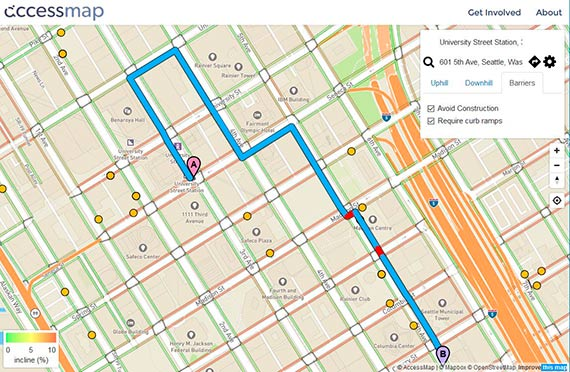 In this example, Access Map routes users trying to reach Seattle City Hall via Union Street rather than directly up steep Seneca Street. Credit: University of Washington/AccessMap