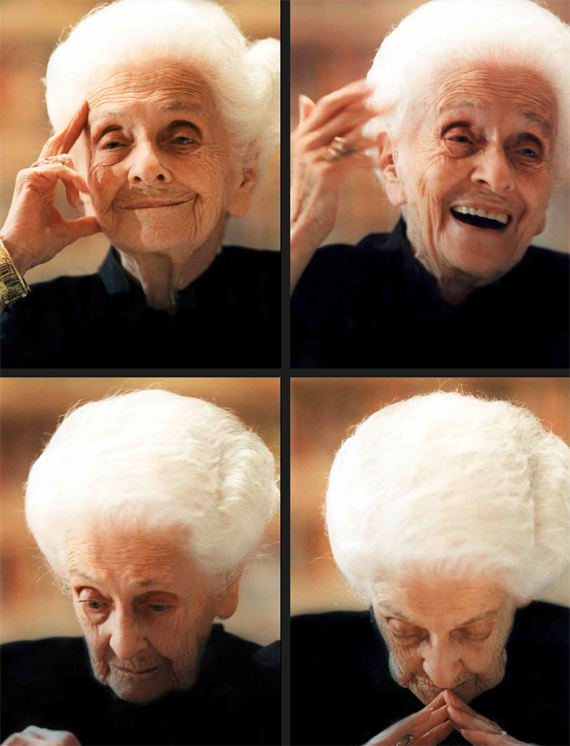 BBVA, OpenMid, Undoing Aging with Molecular and Cellular Damage Repair, De GrayMultiple portraits of the long-lived Italian neurologist and 1986 Noble Prizewinner for Medicine, Rita Levi Montalcini (1902–2012) (c. 2000).