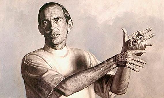 Retrato del doctor Christiaan Barnard con un corazón en las manos. Crédito: Benito Prieto Coussent