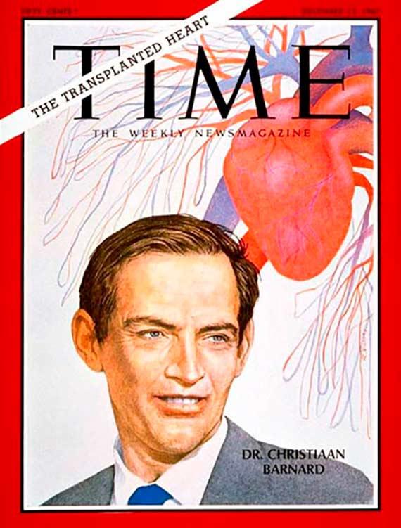 Doce días después de su primer trasplante de corazón, Barnard fue portada de la revista Time. Crédito: Time.