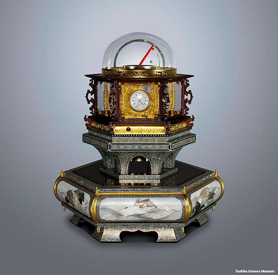 Myriad year clock is an extraordinarily ingenious clock standing 63cm high, weighing 38kg and capable of running for an entire year. Credit: Toshiba Science Museum
