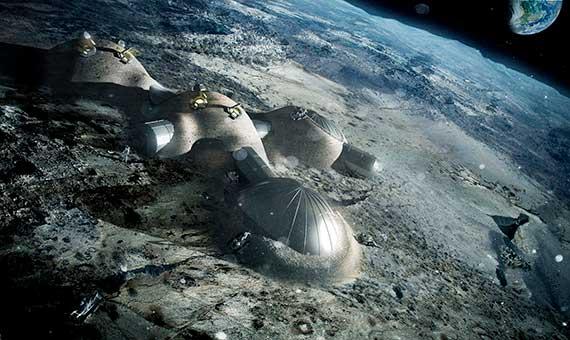 Ilustración del pueblo lunar en 3D. Crédito: ESA