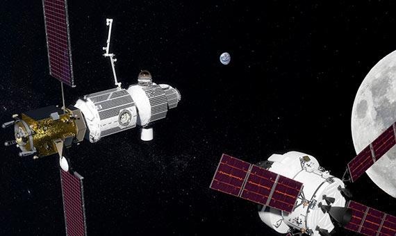 Prototipo de la estación espacial en la órbita lunar.Crédito:NASA