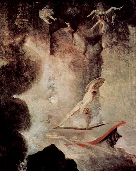 Odysseus in front of Scylla and Charybdis
