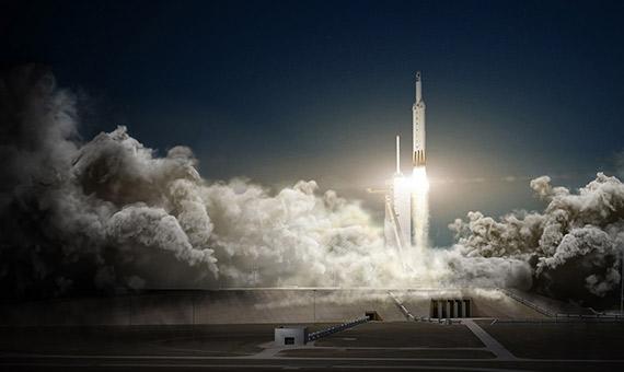 Simulación del lanzamiento del Falcon Heavy. Crédito: SpaceX