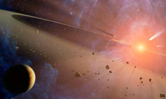 This artist's conception shows the closest known planetary system to our own, called Epsilon Eridani. Observations from NASA's Spitzer Space Telescope show that the system hosts two asteroid belts, in addition to previously identified candidate planets and an outer comet ring.