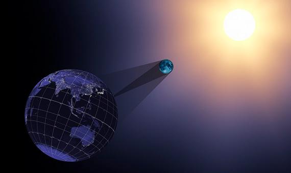 Esta imagen muestra la Tierra, la Luna y el Sol a las 17:05:40 UTC durante el eclipse del 21 de agosto de 2017. Crédito: NASA Goddard Space Flight Center
