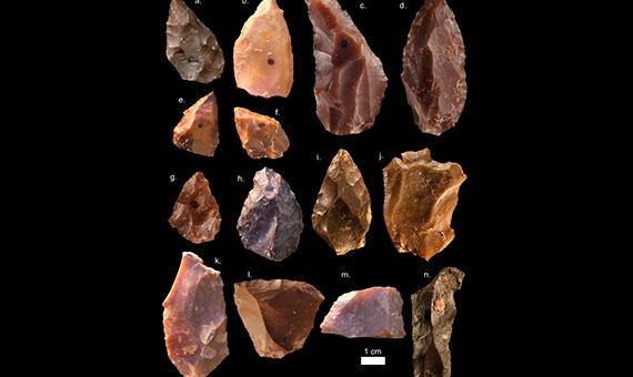 Algunas de las herramientas de piedra encontradas en Jebel Irhoud (Marruecos), fechadas hace 300 mil años. Crédito: Mohammed Kamal, MPI EVA Leipzig