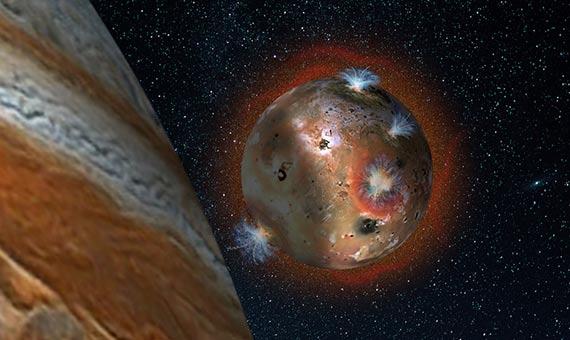 Representación del colapso atmosférico de luna volcánica Ío, que es eclipsada por Júpiter durante dos horas cada día. Crédito: SwRI/Andrew Blanchard.
