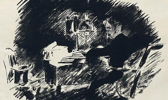 Ilustración de Édouard Manet para una traducción al francés de El Cuervo de Edgar Allan Poe.Fuente: Library of Congress