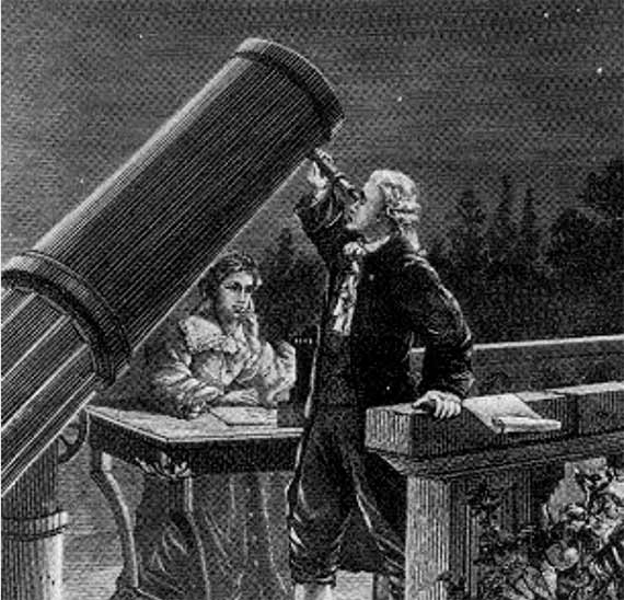 Caroline Herschel taking notes as her brother William observes, the night William discovered Uranus. Credit: Paul Fouché