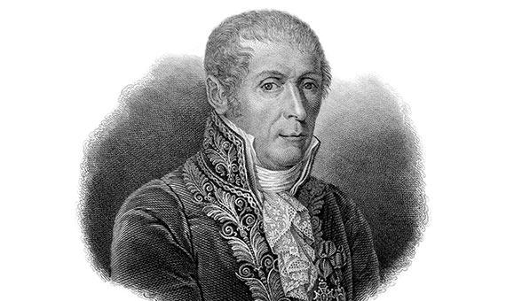 Alessandro Volta consiguió reconocimiento internacional como inventor de la pila eléctrica. Crédito: Garavaglia Giovita - Gaetano Bonatti/ Edgar Fahs Smith collection.