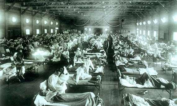 Foto histórica de la sala de gripe española de 1918 en Camp Funston, Kansas. Crédito: fotógrafo del ejército de EE. UU.