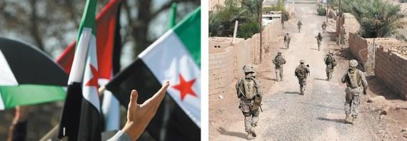 BBVA-OpenMind-Libro 2018-Perplejidad-Al-Rodhan-Banderas-siria-aldea-collage-izquierda: Despliege del ejército estadounidense en una aldea de Irak. Abajo derecha: Banderas en manifestaciones de apoyo al pueblo sirio en Europa.