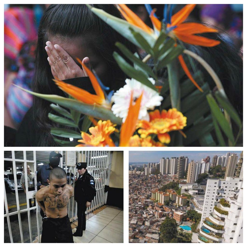 BBVA-OpenMind-Libro 2018-Perplejidad-Centeno-Lajous-ViolenciaCallejera-COllage-Arriba: Un familiar llora en el funeral multitudinario de dos niños asesinados en la localidad guatemalteca de San Juan de Sacatepéquez, 14 de febrero de 2017. Izquierda: Un detenido por violencia callejera ingresa en el calabozo. Abajo derecha: Favela de Rio de Janeiro, Brasil.