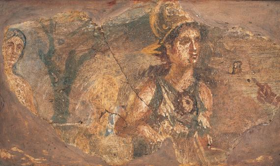 BBVA-OpenMind-Libro 2018-Perplejidad-zalewski-Atenea-Atenea, en el centro de la pintura, la diosa de la sabiduría y las artes, coronada con un casco y portando un manto donde lleva atada la cabeza de Medusa, que cortó Perseo. Atenea es un icono de la feminidad a lo largo de los siglos que se ha proyectado intensamente en el imaginario político y social contemporáneo.