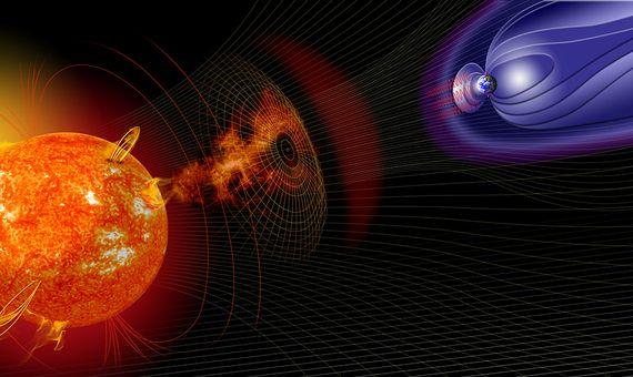 Ilustración de la actividad solar que cambia las condiciones del espacio cercano a la Tierra. Crédito: NASA.