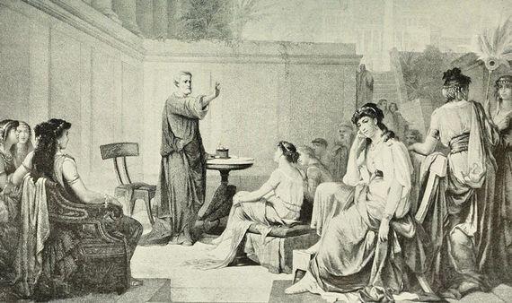Pitágoras impartiendo una clase a mujeres. Fuente: Wikimedia