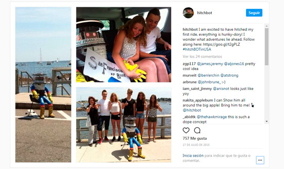 Image of the robot Hitchbot in one of the stops of his trip #hitchBOTinUSA / Image: Instagram @hitchbot / www.hitchbot.me