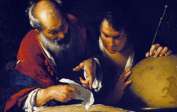 Eratosthenes enseñando en Alejandría. Una pintura de Bernardo Strozzi. Fuente: Musée des beaux-arts de Montréal