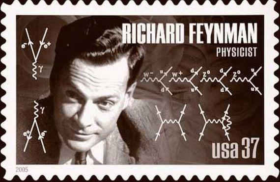 Ejemplos de sus diagramas de Feynman fueron incluidos en un sello postal de 2005 en EEUU. Crédito: US Postal Service