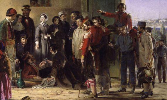 Pintura de Jerry Barrett titulada Nightingale recibiendo a los heridos en Scutari. Crédito: National Portrait Gallery, Londres.