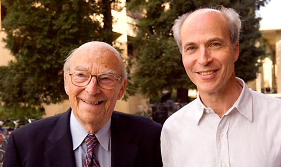 Nobel Laureate Arthur Kornberg (left) with his son Roger Kornberg, who was awarded the Nobel Prize in Chemistry 2006. Copyright © Stanford News Service 2006 Photo: Linda A. Cicero