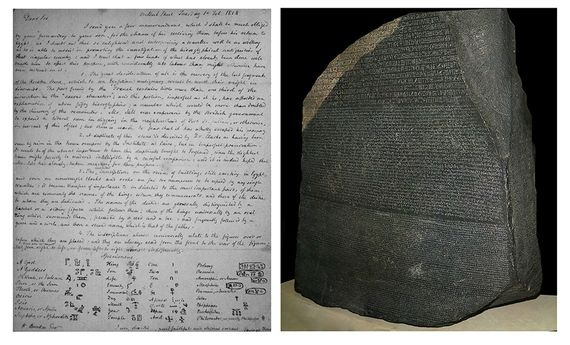 A la izquierda, foto de una carta de Thomas Young a William Banks con una descripción de algunos jeroglíficos en el fondo. A la derecha, la piedra Rosseta.