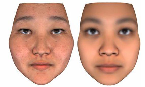 Ejemplo de una cara real (a la derecha) y la predicción genómica de Venter. Fuente: PNAS