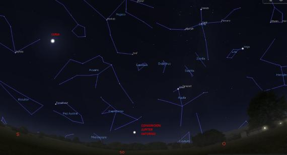 BBVA-OpenMind-2020-Estrellas Navidad- El cielo poco después del atardecer en el hemisferio norte. Crédito: Borja Tosar/Stellarium.