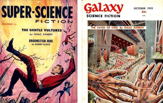 Cover  of two books by Asimov. Source: Wikimedia