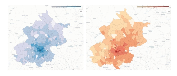 BBVA-OpenMind-ilustración-Alex-pentland-datos-para-una-nueva-ilustracion-GRafico-Interaction diversity (left) and future economic growth (right) for the city of Beijing; it can be seen that they are highly correlated (Chong, Bahrami, and Pentland, 2018)