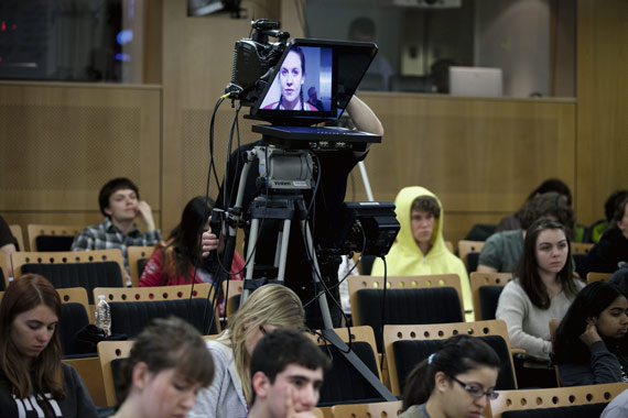 "A teleprompter shows a ""virtual student"" at an MIT class being recorded for online courses in April 2013, Cambridge, Massachusetts"