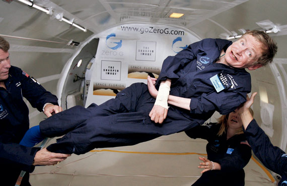 Stephen Hawking (1942–2018) aboard a modified Boeing 727 jet owned by the Zero Gravity Corporation. The jet completes a series of steep ascents and dives that create short periods of weightlessness due to free fall. During this flight, Hawking experienced eight such periods