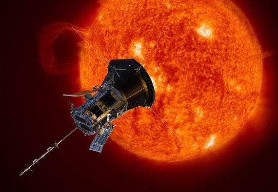 BBVA-OpenMind-Materia-Records 4-Dibujo artístico de la nave espacial Parker Solar Probe acercándose al sol. Crédito: NASA / Johns Hopkins APL / Steve Gribben