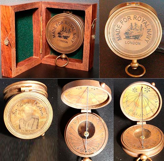 Brújula de marinero con esfera solar de Lord Kelvin. Crédito: Yoram Shoval