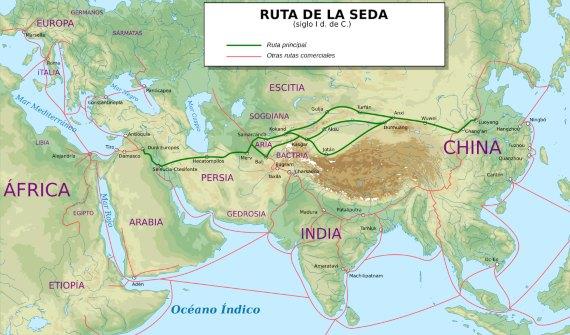 BBVA-OpenMind-La ruta tecnológica de la seda-2-Ruta de la seda en el siglo I d.C. Fuente: Wikimedia