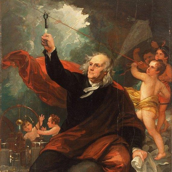 Representación del experimento de la cometa de Benjamin Franklin. Fuente: Wikimedia