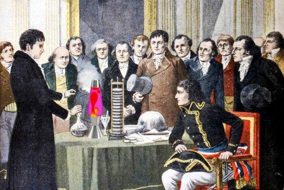 Volta mostrando la batería eléctrica a Napoleón. Fuente: Mike Licht
