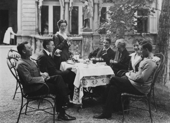 The Wittgenstein family in Vienna, summer 1917. From left, siblings Kurt, Paul, and Hermine Wittgenstein; their brother-in-law, Max Salzer; their mother, Leopoldine Wittgenstein; Helene Wittgenstein Salzer; and Ludwig Wittgenstein.