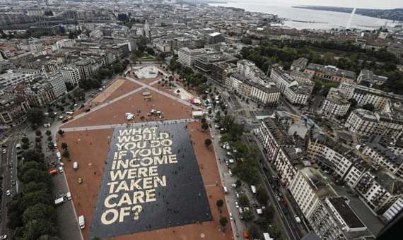 As part of the campaign for the UBI referendum in Switzerland in June 2016, the Swiss Initiative for an Unconditional Basic Income produced an 8,000-square-meter poster that was displayed for a few days on the Plainpalais square, Geneva