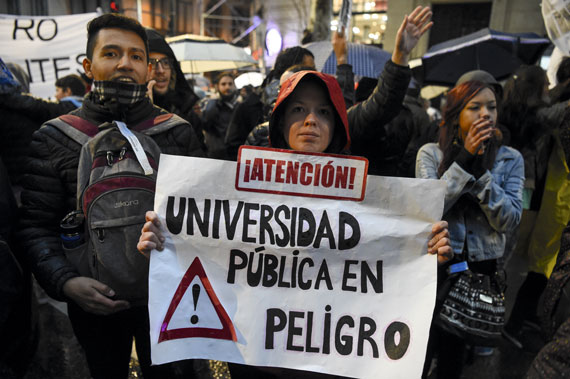 A march for teachers' salary increase and against budget cuts in Argentine public universities, Buenos Aires, August 2018
