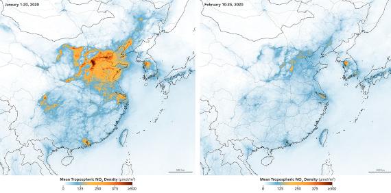 BBVA-OpenMind-Javier Yanes-Los otros efectos del coronavirus- impacto COVID medioambiente 2-Imágenes de observación terrestre que muestran el descenso de la polución por dióxido de nitrógeno en los cielos de China. Crédito: NASA