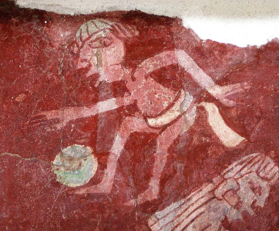 BBVA-OpenMind-Miguel Barral-Pelota maya 1-2-Pintura de jugador de pelota de los murales de Tepantitla en Teotihuacán. Crédito: Daniel Lobo