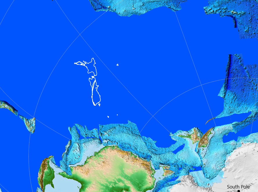 Zealandia and New Zealand 90 ma Gondwana, current location of New Zealand in white. Source: Wikimedia