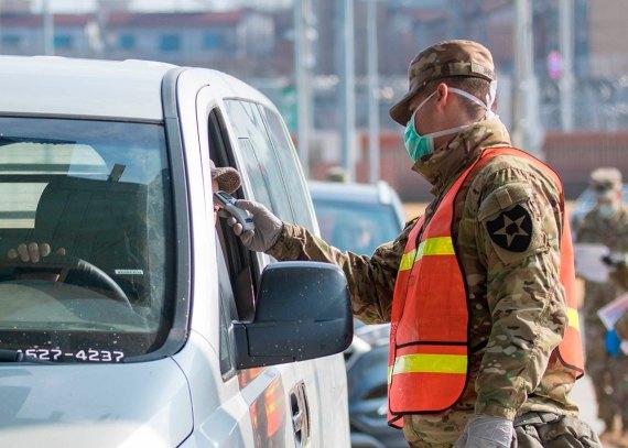 BBVA-OpenMind-Yanes -Que salió mal covid 19-4-Un soldado toma la temperatura a un viajero en Corea del Sur. Crédito: U.S. Army/ Pfc. Kang, Min-jin