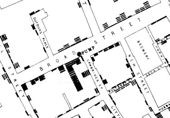 BBVA-OpenMind-Francisco Doménech-Francisco Doménech-John Snow y el origen medicina colera-2-Detalle del mapa original de John Snow, mejorado digitalmente, que muestra el centro del brote en el Soho (y ningún caso en la fábrica de cerveza). Fuente: UCLA Department of Epidemiology