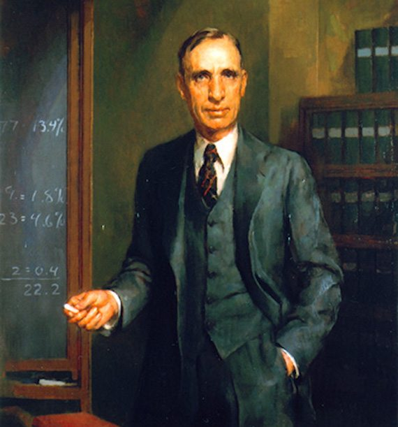 Portrait of Wade Hampton Frost on display at Johns Hopkins University School of Hygiene and Public Health, where he was a dean and professor of epidemiology